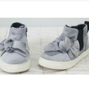 Zara Baby Shoes Girls Sz 5 Faux Fur Blue Bow Zip